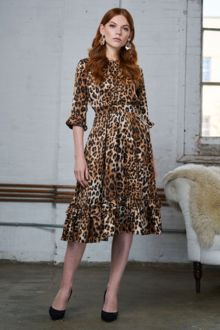 FINAL SALE Ruffled Crepe Dress - Leopard Print