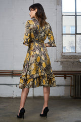 FINAL SALE Ruffled Crepe Dress - Yellow Snake Print