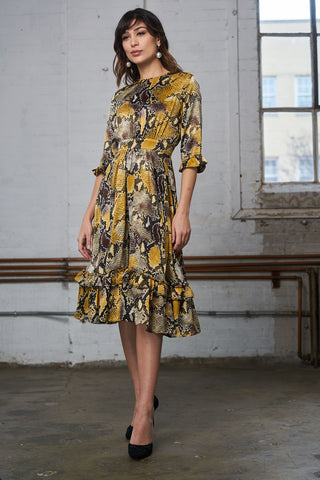 Ruffled Crepe Dress - Yellow Snake Print
