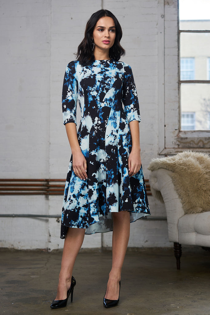 FINAL SALE Asymmetrical Print Dress - Mixed Blue