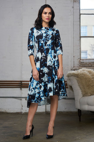 Asymmetrical Print Dress - Mixed Blue