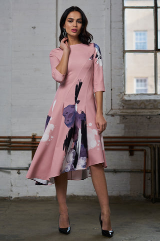 Asymmetrical Print Dress - Pink Splatter