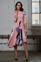 FINAL SALE Asymmetrical Print Dress - Pink Splatter