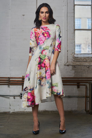 Asymmetrical Print Dress - Abstract Floral