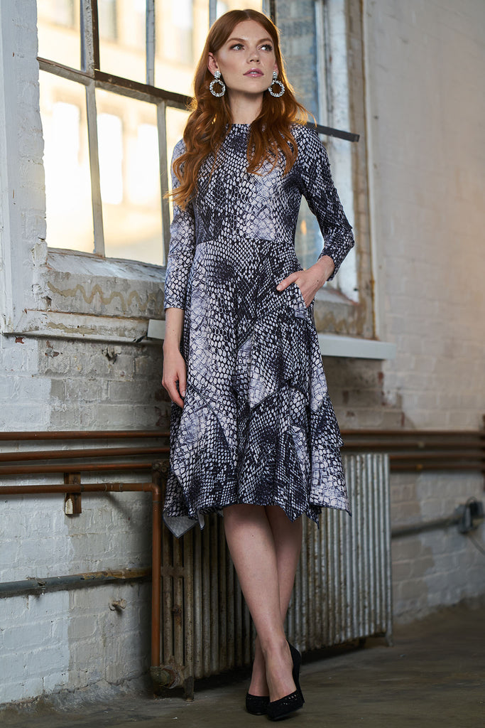 FINAL SALE Crepe Dress with Pockets - Snakeskin Print