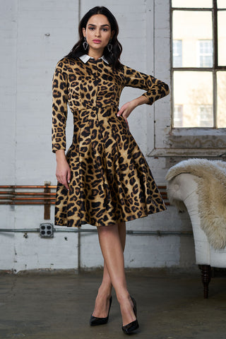 FINAL SALE Leopard Print Satin Dress with Removable Collar