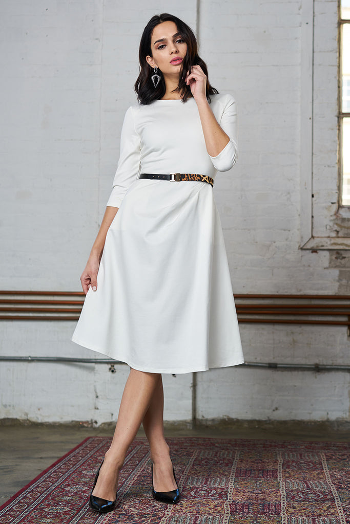 FINAL SALE Ponte Dress with Pockets - White