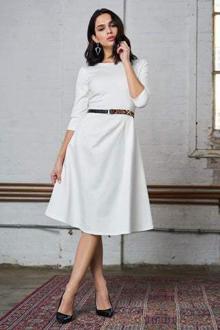 Ponte Dress with Pockets - White