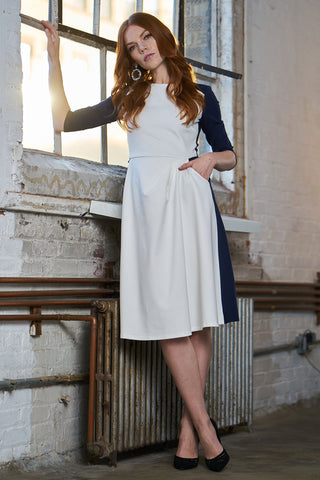 Ponte Dress with Pockets - Navy/White