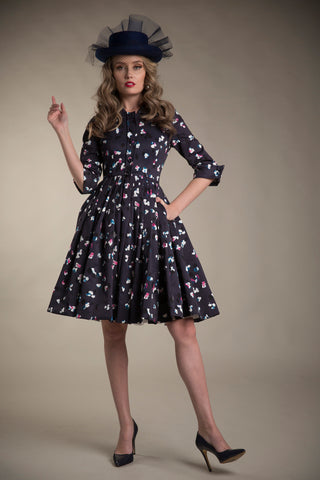FINAL SALE Printed Faille Party Dress