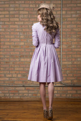 FINAL SALE Ruched Sleeve Cotton Dress with Belt in Lavender