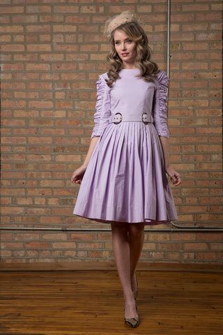 Ruched Sleeve Cotton Dress with Belt in Lavender