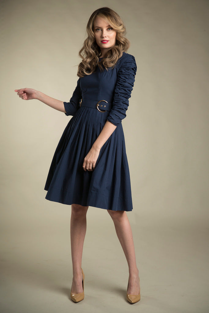 Ruched Sleeve Cotton Dress with Belt in Navy