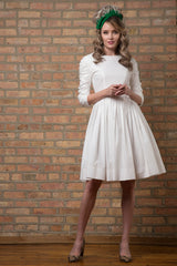 Ruched Sleeve Cotton Dress with Belt in Soft White