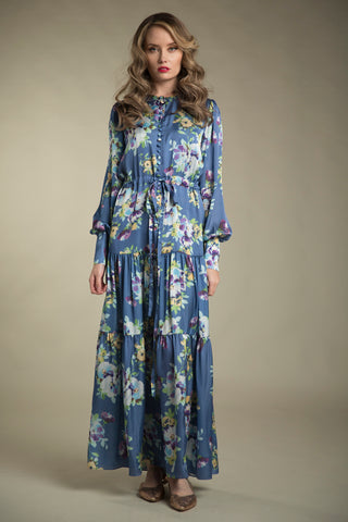 FINAL SALE Printed Charmeuse Maxi Dress