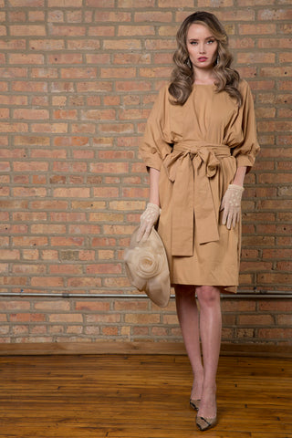 Cotton Paperbag Dress with Tie in Coffee
