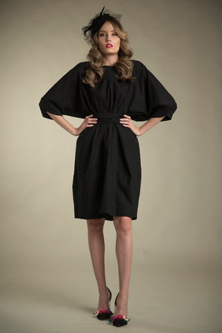 Cotton Paperbag Dress with Tie in Black