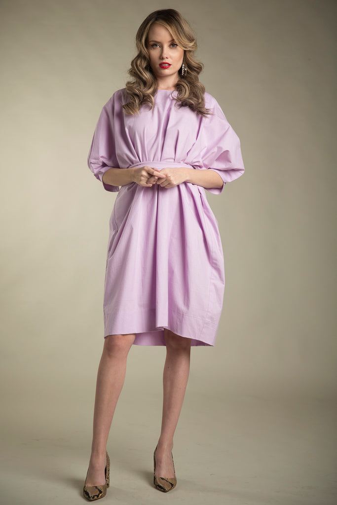 Cotton Paperbag Dress with Tie in Lavender