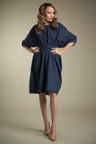 Cotton Paperbag Dress with Tie in Navy