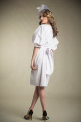 Cotton Paperbag Dress with Tie in Bright White