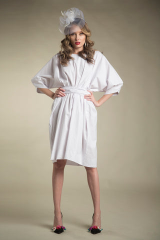 FINAL SALE Cotton Paperbag Dress with Tie in Bright White