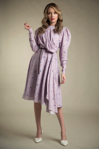 Asymmetrical Printed Crepe Dress in Floral Lavender