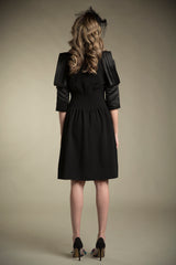 Crepe Dress with Satin Sleeves in Black
