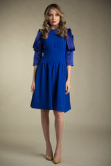 FINAL SALE Crepe Dress with Satin Sleeves in Royal Blue