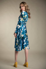Abstract Print Charmeuse Dress with Puff Sleeves