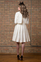 FINAL SALE Embellished Dotted Party Dress in White