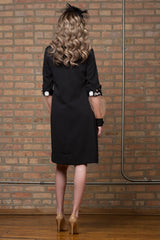 FINAL SALE Embellished Crepe Dress with Sheer Sleeve Detail