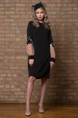 Embellished Crepe Dress with Sheer Sleeve Detail