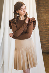 Ruffle Shoulder Sweater in Caramel