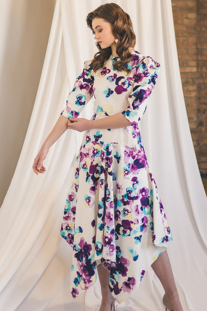 Stretch Cotton Dress with Puff Sleeves in Floral