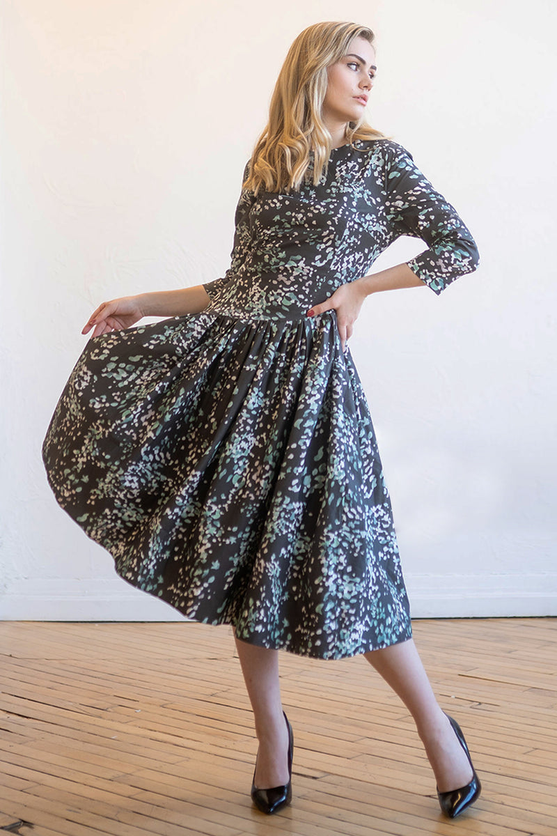 Asymmetrical Stretch Cotton Dress in Dotted Print