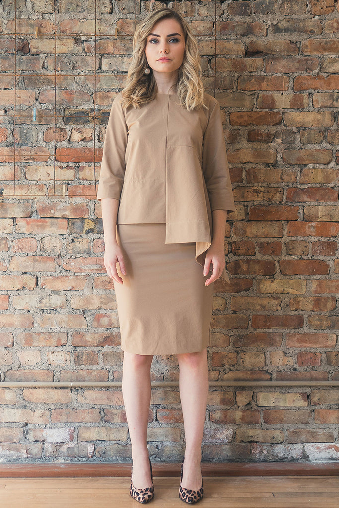 The Perfect Pencil Skirt in Beige