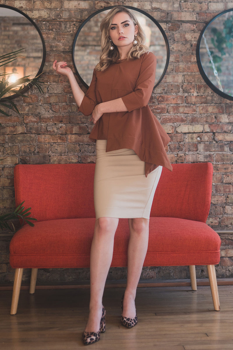 The Perfect Pencil Skirt in Light Tan