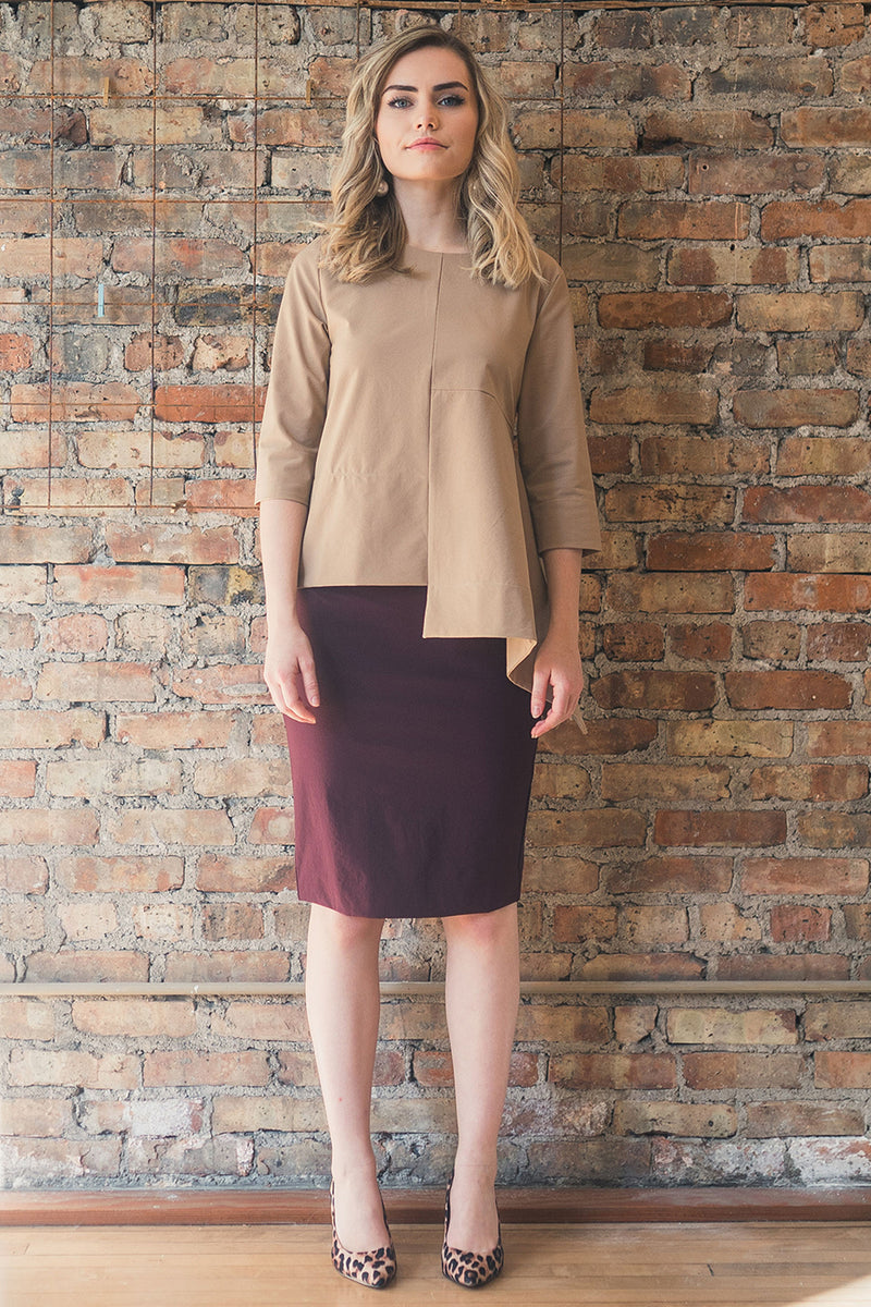 The Perfect Pencil Skirt in Merlot