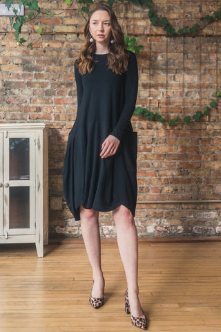 Jersey Knit Dress with Pockets in Black