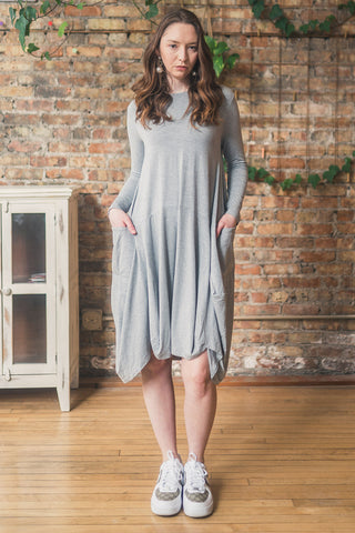 Jersey Knit Dress with Pockets in Light Gray Melange
