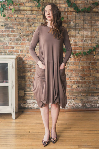 Jersey Knit Dress with Pockets in Taupe