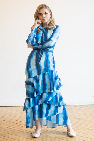 Tiered Maxi Dress in Blue Watercolor