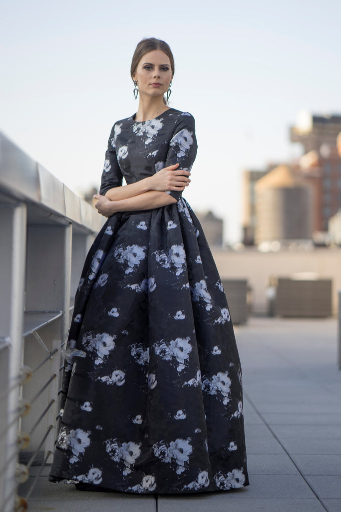 FINAL SALE Floral Print Jacquard Gown