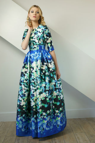 Jewel Tone Watercolor Print Gown