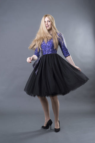 FINAL SALE Brocade Dress with Tulle Skirt