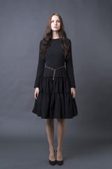 FINAL SALE Tiered Stretch Crepe Dress with Chain Belt (more colors available)