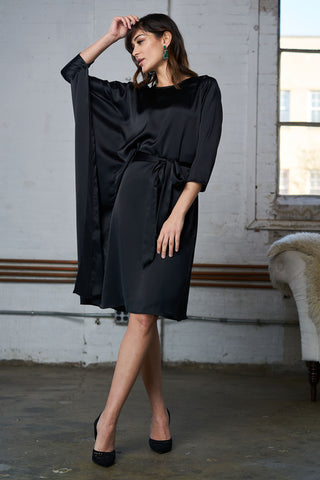 Satin Cape Dress - Black