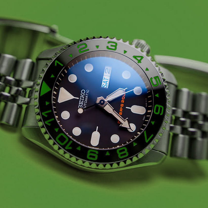 Ceramic Insert - 007 Dual Time Black X Green
