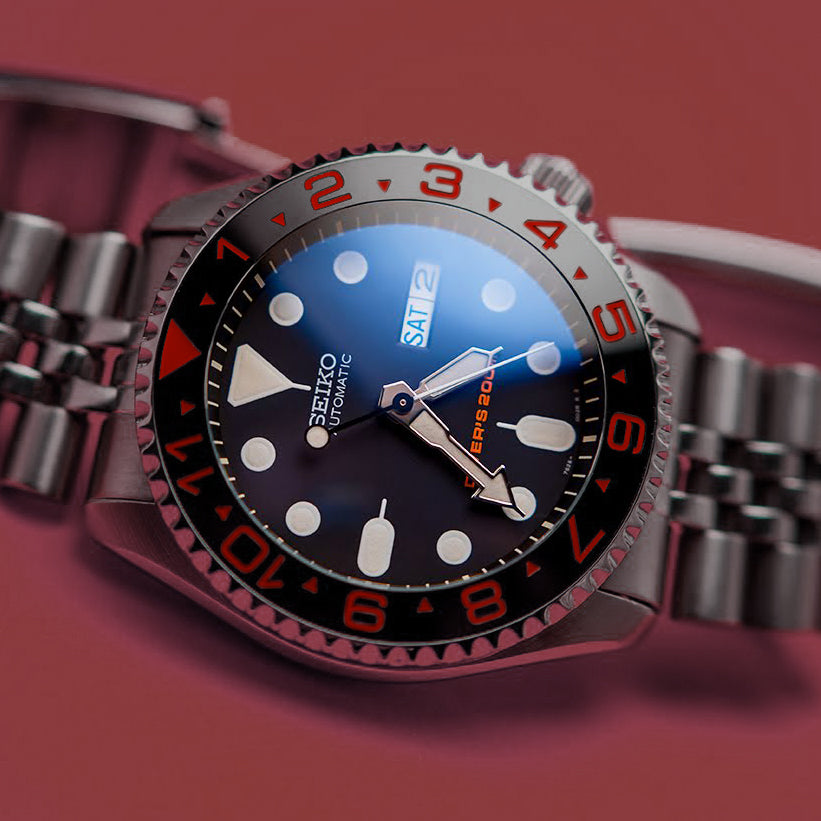 Ceramic Insert - 007 Dual Time Black X Red