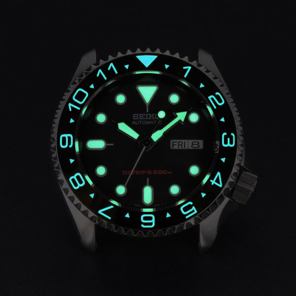 Ceramic Insert - 007 Dual Time Black - Luminous Aquaris